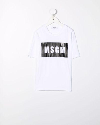 Biała koszulka bawełniana Msgm Kids