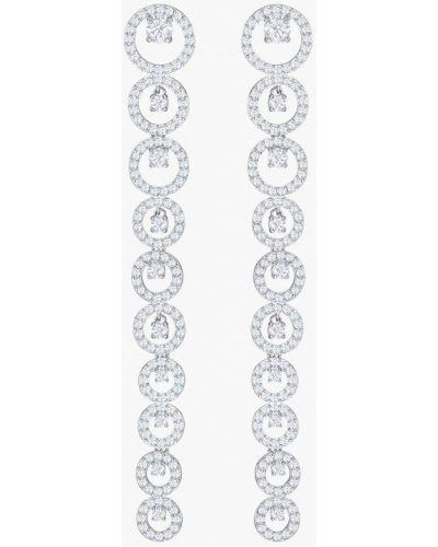 Серьги удлиненные серебряного цвета Swarovski