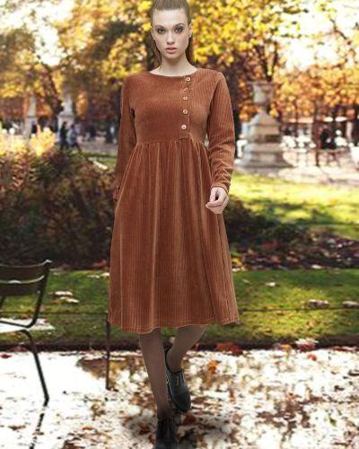 Приталенное повседневное с рукавами платье Mix-mode