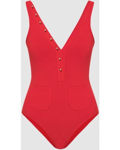 Красный слитный купальник Moeva