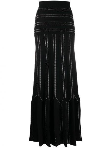 С завышенной талией черная юбка макси с вышивкой свободного кроя Elisabetta Franchi