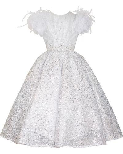 Пышное платье с пайетками с перьями Yudashkin Kids
