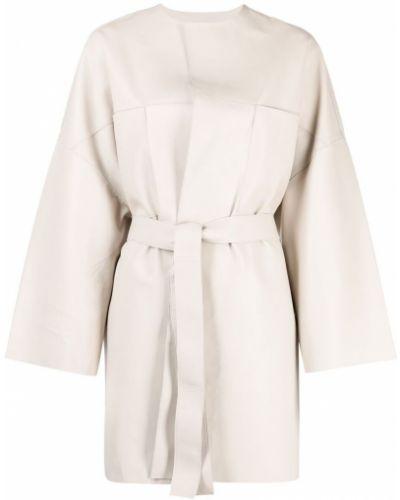 Однобортное кожаное длинное пальто с поясом S.w.o.r.d 6.6.44
