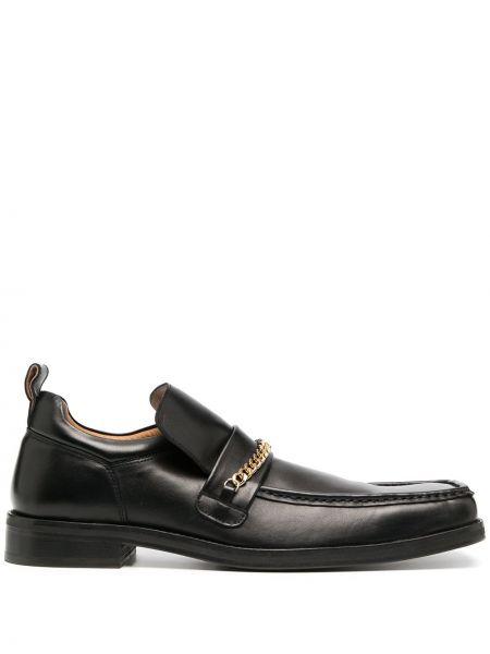 Skórzany czarny loafers na pięcie plac Martine Rose