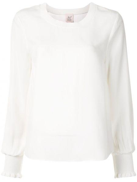 Белая шелковая блузка с длинным рукавом с манжетами с вырезом Cinq À Sept