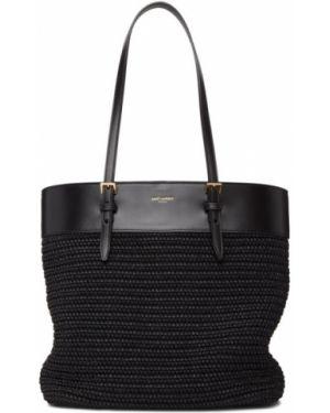 Skórzany czarny torba na zakupy z klamrą prążkowany Saint Laurent