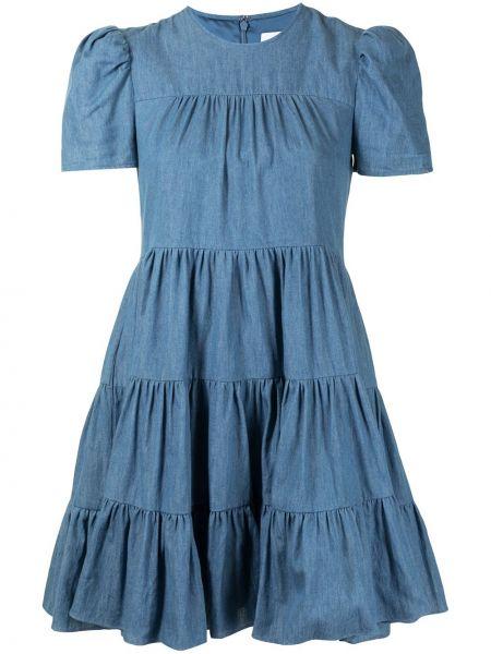 С рукавами синее платье мини с вырезом Likely