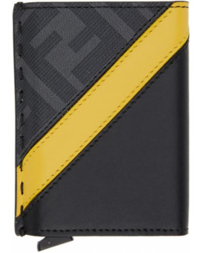 Кожаная черная ключница с тиснением со шлицей Fendi