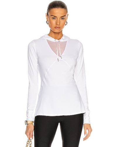 Biała bluza z kapturem z nylonu Alala
