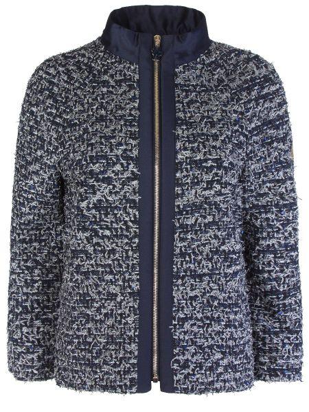Синяя куртка на молнии твидовая с воротником Moncler Gamme Rouge
