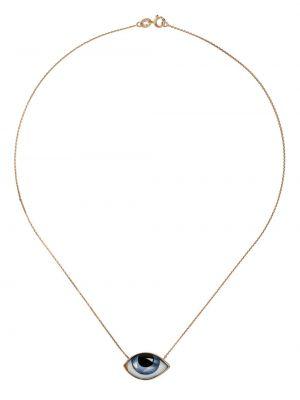 Ażurowy niebieski złoty naszyjnik Lito