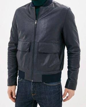 Кожаная куртка осенняя синяя Cortefiel