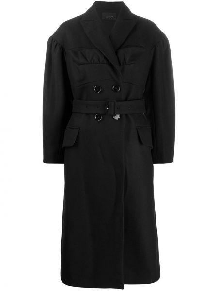Czarny płaszcz wełniany z paskiem Simone Rocha