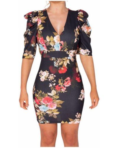 Czarna sukienka w kwiaty Parisian