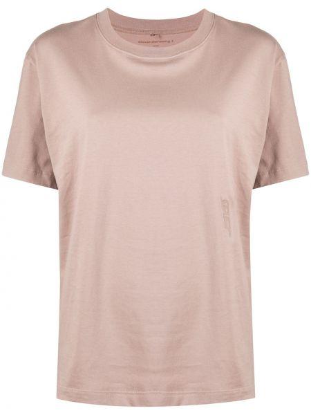 Хлопковая розовая прямая футболка с круглым вырезом T By Alexander Wang