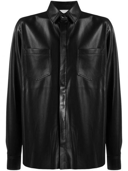 Кожаная с рукавами черная классическая рубашка Nanushka