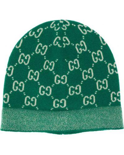 Тонкая шерстяная зеленая шапка Gucci Kids