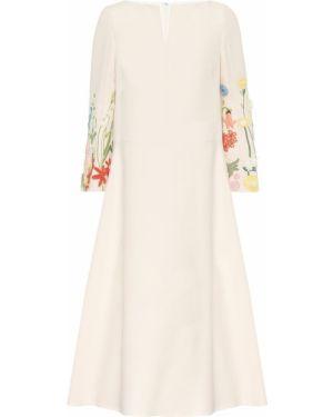 Платье миди с вышивкой шерстяное Valentino