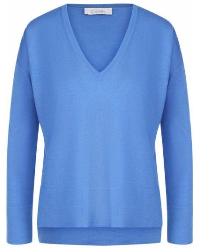 Синий свитер с V-образным вырезом Cruciani