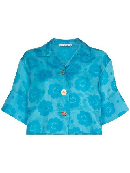 Niebieska koszula krótki rękaw w kwiaty Rejina Pyo