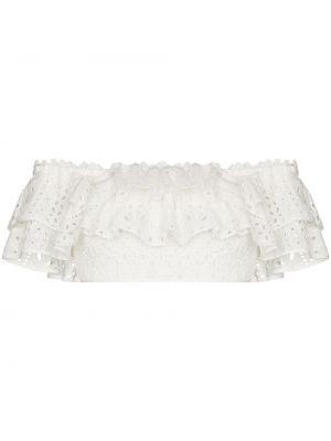 Biały crop top krótki rękaw bawełniany Charo Ruiz Ibiza