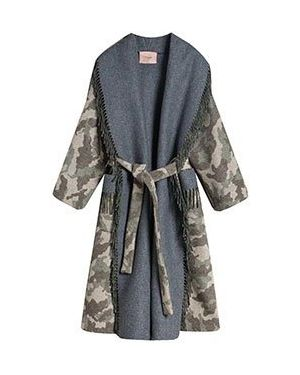 Пальто серое шерстяное Twinset