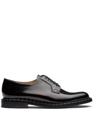 Ажурные кожаные черные пинетки на шнурках Church's