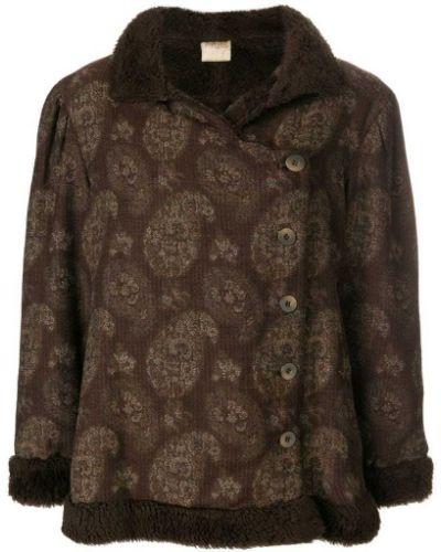 Коричневое пальто с капюшоном Krizia Pre-owned