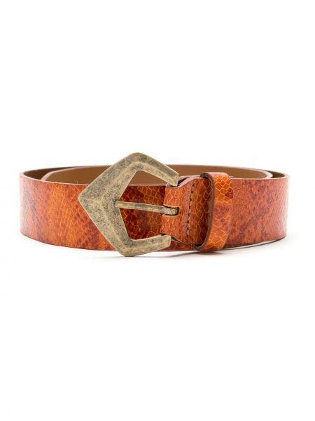 Кожаный оранжевый ремень с пряжкой НК