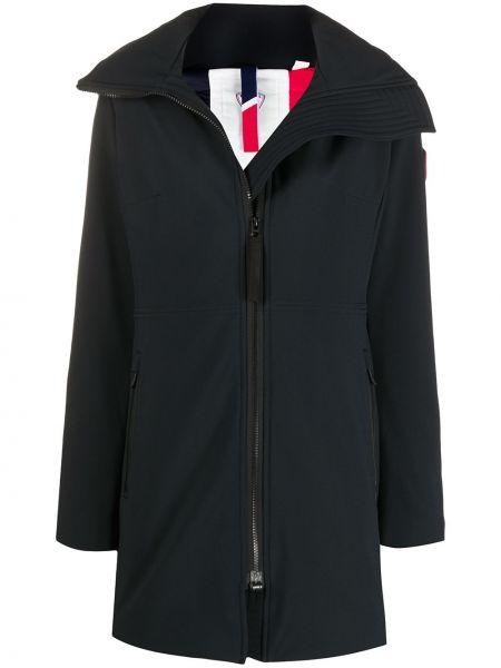 С рукавами черное прямое пальто с капюшоном на молнии Rossignol