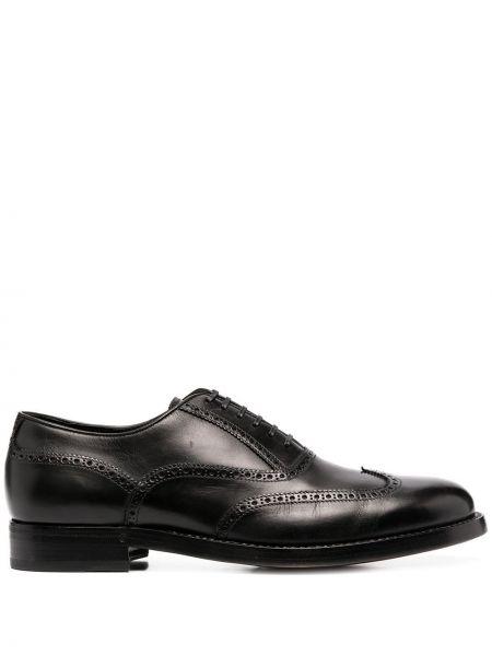 Skórzany ażurowy czarny buty brogsy zasznurować Brioni