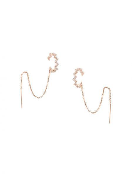 Золотистые с цирконием серебряные серьги золотые Apm Monaco