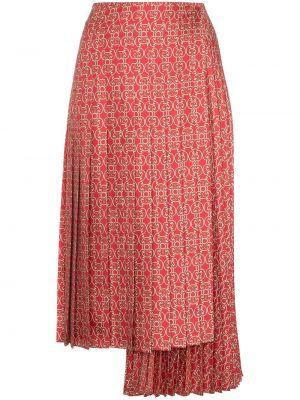 Шелковая юбка миди - красная Fendi