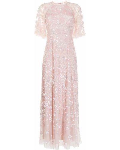 С рукавами розовое вечернее платье с пайетками Needle & Thread