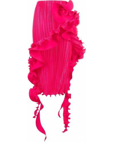 Розовая плиссированная юбка Versace