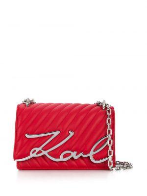 Кожаная сумка через плечо - красная Karl Lagerfeld
