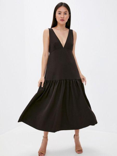 Коричневое прямое платье Laroom