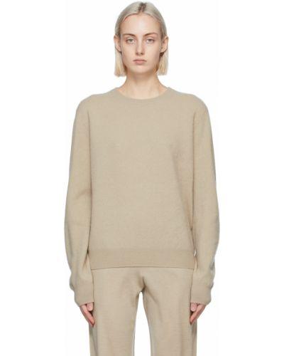 Beżowy z kaszmiru długi sweter z długimi rękawami Frenckenberger