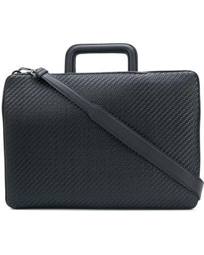 Кожаный черный портфель на молнии с карманами Ermenegildo Zegna