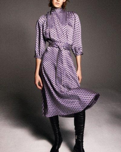 Платье миди с поясом с высоким воротником Zara