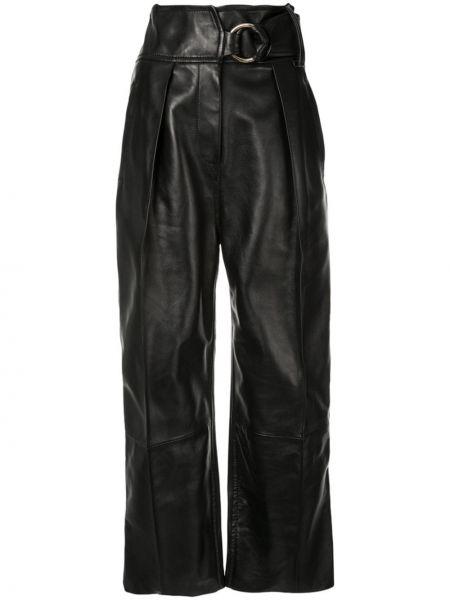 Кожаные черные плиссированные свободные брюки с карманами Petar Petrov