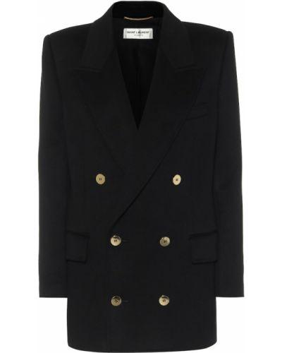 Шерстяной черный пиджак двубортный Saint Laurent