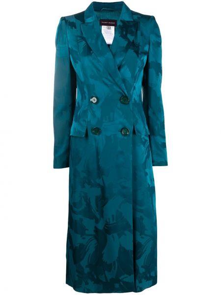 Синее пальто узкого кроя двубортное с карманами Talbot Runhof