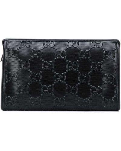 Skórzany czarny torba sprzęgło z kieszeniami z łatami Gucci