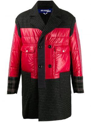 Стеганое серое шерстяное длинное пальто Junya Watanabe