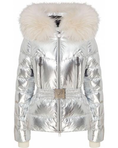 Серебряная стеганая куртка с мехом Naumi