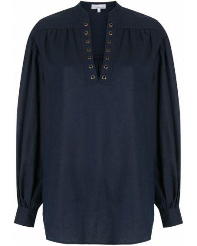 Синяя блузка с вырезом на пуговицах НК