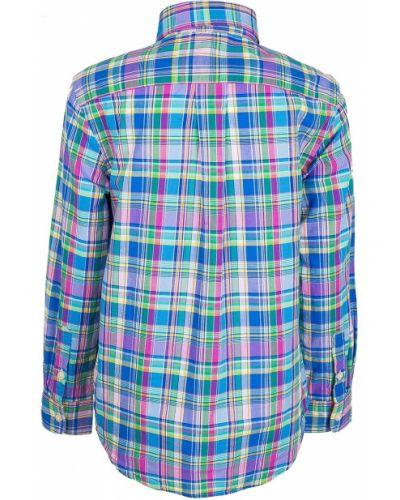 Рубашка в клетку с воротником-стойкой с вышивкой Ralph Lauren Children
