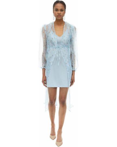 Ażurowa niebieska sukienka długa w kwiaty Aeryne