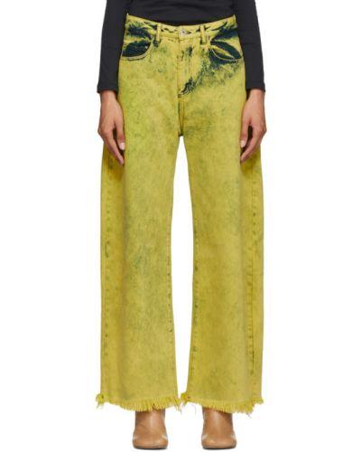 Ватные хлопковые желтые джинсы бойфренды стрейч Marques Almeida